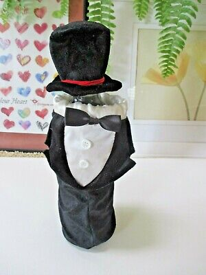 $ CDN12.60 • Buy Wine Bottle Cover Wedding Tuxedo Hat Decorative Velour Satin So Cute