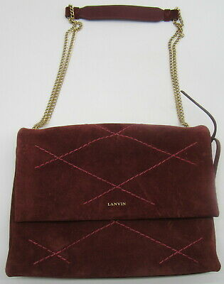 LANVIN Burgundy Suede Sugar Quilted Shoulder Bag • 213.86£