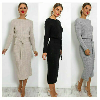 £14.99 • Buy Women's Cable Knitted Jumper Ladies Long Sleeve Tie Up Maxi Midi Dress HUGE SALE