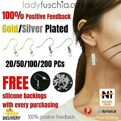 AU5.90 • Buy SYD Silver Gold Plated Earring Hook Ear Jewellery Making DIY Free Silicone Back