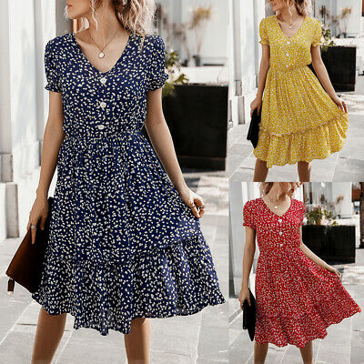 Women Boho Floral Midi Beach Dress Summer Holiday V Neck Ruffle Swing Sundress • 16.09£