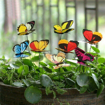 50pcs Colorful Garden Butterflies Stakes Patio Home Ornaments On Sticks Lawn • 6.99£
