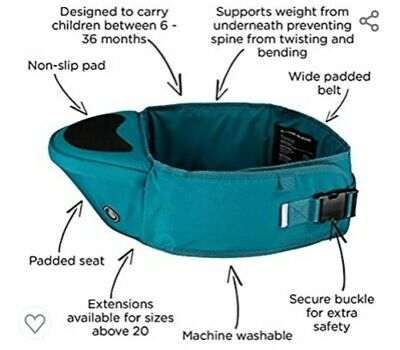 Hippychick Infant Carrier. Hip Seat. Used. Excellent Condition. Green / Teal • 4.99£
