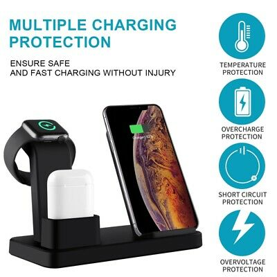AU22.99 • Buy 3 In 1 Apple Qi Wireless Charger Charging Dock Stand Station For IPhone Watch