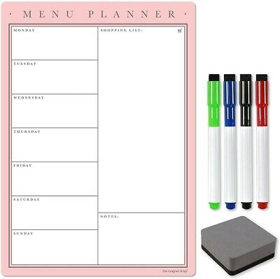 £9.95 • Buy Meal Planner And Shopping List, Dry Wipe Magnetic Weekly Or Daily Fridge Planner