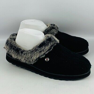 Womens 11 Skechers Bobs Keepsakes Ice Angel Slipper Black Sweater Faux Fur Lined • 20.83£