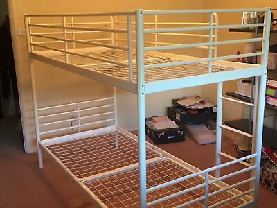 Ikea Set Of White Metal Bunk Beds, Collect Only • 60£