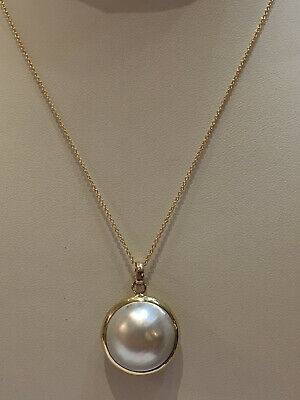 $440 • Buy Genuine Mabe Pearl 20.00mm Pendant. Set In 14K Yellow Gold