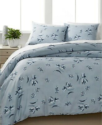 $ CDN164.57 • Buy CALVIN KLEIN Tulip Floral  Dusk Blue  Queen Cotton 3pc Comforter Set