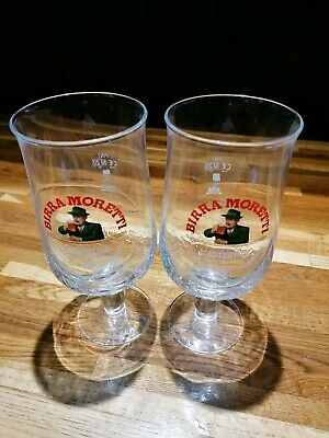 2 X Pint Glasses For Home Bar/Man Cave Lager/Beer Bierra Moretti • 9.95£