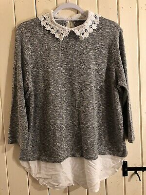 Grey Marl Top With With White Lace Collar And Faux Shirt Layer Look - Size 18 • 5£