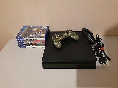 AU299 • Buy Sony PS4 PlayStation 4 Slim Black 500 GB Console + Camo Controller + 6 Games