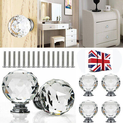 Clear Crystal Diamond Glass Door Knobs Cupboard Drawer Furniture Handle Cabinet • 6.86£