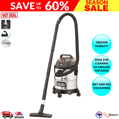 AU97 • Buy New Ozito 1250W 20L Stainless Wet And Dry Vacuum Cleaner Home Office Cleaning