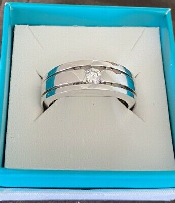 AU790 • Buy Solid Mens 18ct White Gold Ring With Diamond, Over 23grams!