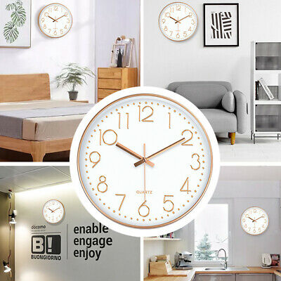 AU15.99 • Buy AU 12'' Wall Clock Quartz Round Wall Clock Silent Non Ticking Battery Home Displ