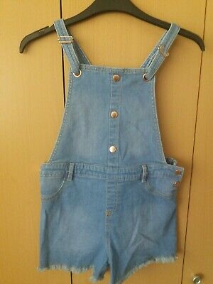 Girls Denim Dungaree Shorts Age 9-10 • 2.55£