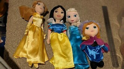 4 Disney Princess Plush Soft Toys Anna Elsa Snow-white Belle • 6.50£