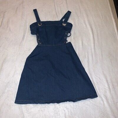 Pretty Little Thing Dark Blue Denim Cut Out Lace Up Side Dress Size 8 • 5£