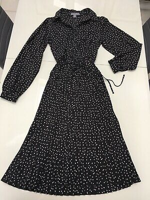 Primark Polka Dot Black And White Long Maxi Dress Sz 8 Pleated Skirt Collar NWOT • 6.99£