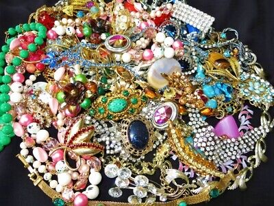 $ CDN298 • Buy LARGE VINTAGE RHINESTONE CRYSTAL GEMSTONE Costume & Designer Signed Jewelry Lot