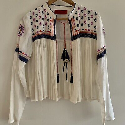 AU75 • Buy Tigerlily Boho Embroidered Tie Up Top/ Jacket Size 8