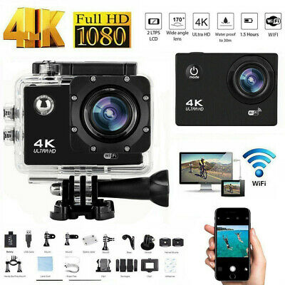 Ultra HD 4K 1080P Sport WiFi Cam Action Camera Underwater DV Video Recorder 12MP • 23.80£