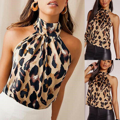 £5.99 • Buy Women Leopard Printed Halter Neck Cami Vest Evening Party Tops Sleeveless Blouse