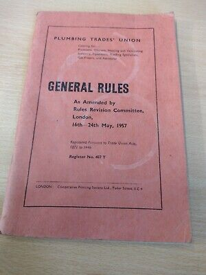 £7.99 • Buy Plumbing Trades Union General Rules 1957 Book Pipefitters Gas Fitters Heating
