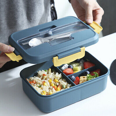 Lunch Box Adults Kids 3 Compartments Food Container Set Bento Storage Boxes LBT • 10.29£