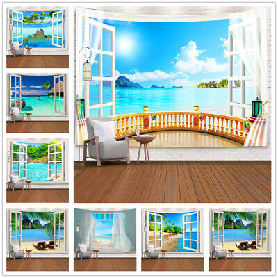 £16.99 • Buy 3D Window Beach Landscape Tapestry Seaside Mountain Tablecloth Wall Hanging Deco