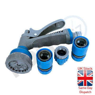 Garden Hose Connector Set & Spray Gun Water Sprayer And Pipe Fittings Accessory • 8.49£