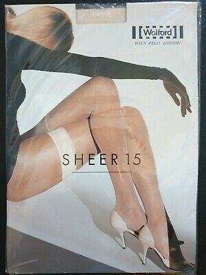 Wolford Sheer 15 Stay-ups Size Large Cosmetic • 15£