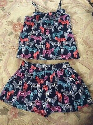 Free P&P Girls Blue Zoo Outfit Summer Shorts & Top Zebra Print Age 7 - 8 Years • 6.50£