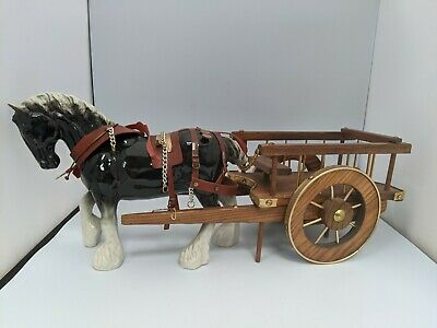 Large Vintage 1970s Kitsch Shire Horse And Wooden Wagon Ornament • 11.99£