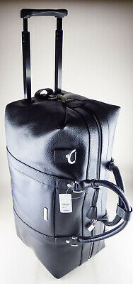 Brooks Brothers Duffel Travel Bag - Wheeled Rolling - Black Leather NWT $398 New • 140.14£