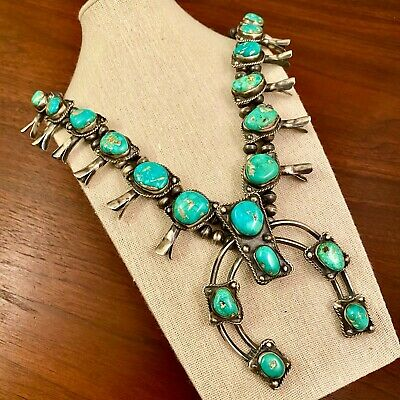 $ CDN976.27 • Buy LARGE NATIVE AMERICAN STERLING SILVER FOX TURQUOISE SQUASH BLOSSOM NECKLACE 208g