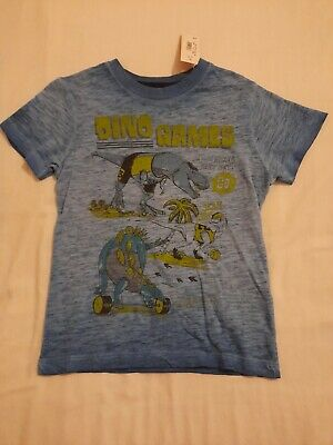 Boys New Blue Dino Games Short Sleeve T-shirt Age 5-6 By Blue Zoo • 6£