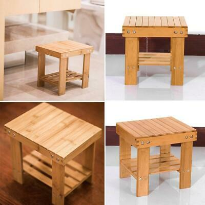 Small Wood Stool Rustic Bamboo Bench Round Footstool Bedroom Kitchen Chair Seat • 18.09£