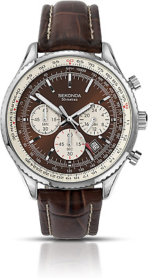 Sekonda Men's Quartz Watch With Brown Dial Chronograph Display And Brown Leather • 60.97£