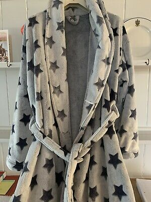 AU7.22 • Buy Marks And Spence Fleece Dressing Gown 12-14 Grey With Stars
