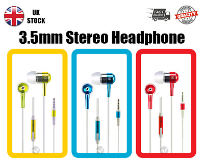 In-Ear 3.5mm Extra Bass Stereo Headphone With Mic For Samsung Iphone Sony Huawei • 5.45£
