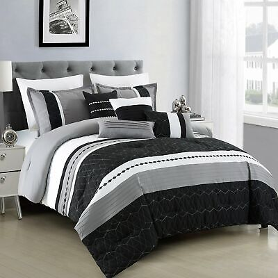 $ CDN0.87 • Buy 7 Piece Microfiber Bedding Comforter Set Luxury Black Bed In A Bag, Queen Size