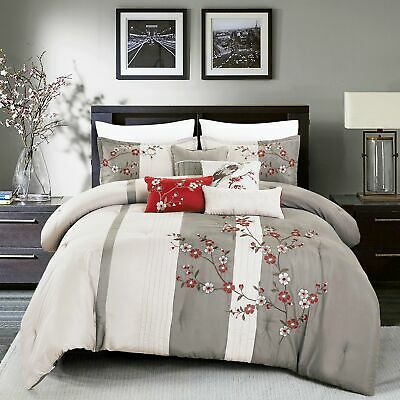 $ CDN0.92 • Buy 7 Piece Microfiber Bedding Comforter Set Luxury Bed In A Bag, Queen Size,Grey