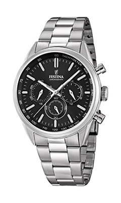 Festina Men's Quartz Watch With Black Dial Chronograph Display And Silver Steel • 85.72£