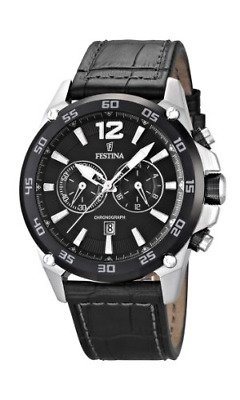 Festina Men's Quartz Watch With Black Dial Chronograph Display And Black Leather • 99.77£