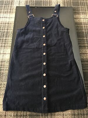 Girls Navy M&S Dungaree Dress Age 12-13 • 3£