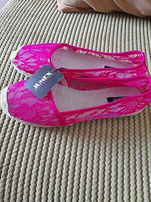 Ladies Summer Shoes Size 6 Nwt Beautiful Fuchsia Pink In See Through Lace Effect • 3.50£