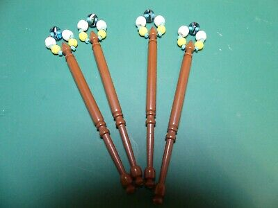 4 Brown Plastic Lace Making Bobbins All Identically Spangled • 2.50£
