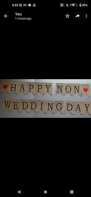 Happy Non Wedding Day Banner Bunting Rustic Twine • 4£